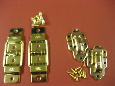 VINTAGE DANSETTE  RECORD PLAYER CABINET SPARES BRASS CHENEY HINGES/LID CATCHES