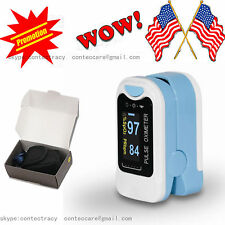 Fingertip Pulse Oximeter,Blood Oxygen PR Spo2 Monitor,Lanyard,Pouch,sky blue,USA
