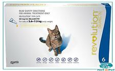 Revolution for Cats 2.6-7.5kgs 6 Pack Flea Worming Spot On Prevention Zoetis Blu