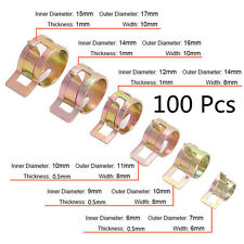 100 Pcs 10 Sizes Autos Spring Clip Fuel Oil Water Hose Pipe Tube Clamp Fastener