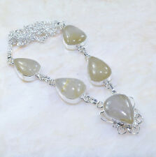 """Handmade Natural Rutilated Quartz Pure 925 Sterling Silver Necklace 18.5"""" AA1017"""