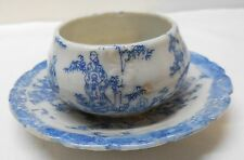 Attached Cup and Dish Chinese Men Designs Blue and White Porcelain Vintage
