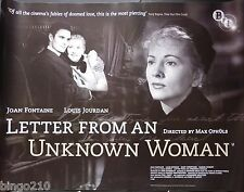 LETTER FROM AN UNKNOWN WOMAN  QUAD POSTER  BFI RE-RELEASE JOAN FONTAINE
