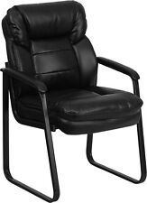 Black Leather Executive Guest Reception Waiting Room Chair
