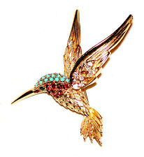 VINTAGE HUMMINGBIRD RUBY THROATED BROOCH RED CRYSTALS TURQUOISE CROWN SPHINX