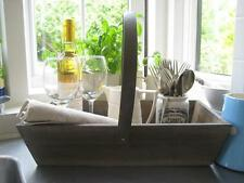 Shabby Chic Rustic Wooden & Metal Handle French Country Storage Trug FREE P&P