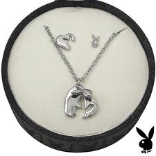 Playboy Jewelry Gift Set Heart Bunny Necklace Earrings Platinum Pl Jewellery Box