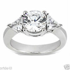 2.09 ct total ENGAGEMENT WEDDING 14K White Gold RING ROUND & TRIANGLE DIAMOND