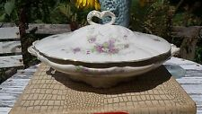 ANTIQUE-VINTAGE-COVERED-OVAL-VEGETABLE-DISH-CHINA GOLD/PURPLE FLOWERS