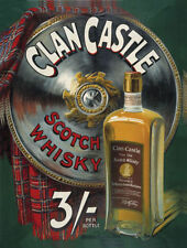CLAN CASTLE FINE OLD SCOTCH WHISKEY SCOTLAND SCOTTISH METAL PLAQUE TIN SIGN 198