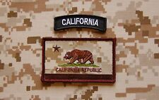 AOR1 California State Flag Patch & BW Tab Set NSW Navy SEAL Afghanistan Hook