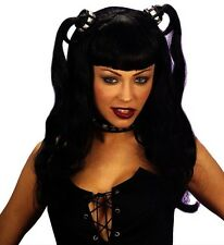 Ladies Black Dominatrix Wig Emo Goth Rave Fancy Dress Witch Vampire