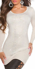 Sexy Miss Long Pullover Glamour Strass Pulli Strick Mini Kleid 34/36/38 beige