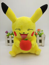 """NEW Pokemon Smiling Pikachu 11"""" Plush Toy with Apple Cuddly Gift"""