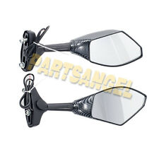 Carbon Fiber LED Integrated Turn Signal Mirrors for Honda Suzuki Kawasaki Yamaha