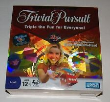 BRAND NEW Trivial Pursuit Triple Fun Three Levels Questions Board Game SEALED