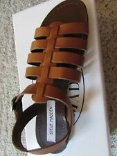 NEW STEVE MADDEN ANIT COGNAC STRAPPY SANDALS WOMENS 7.5 FLATS LEATHER FREE SHIP