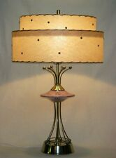50s ATOMIC RETRO Abstract Mid Century DECO Fiberglass 2 TIER Shade Table Lamp