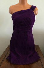 Nine West Womens Size 6 Fuchsia Purple One Shoulder Pleated Short Party Dress