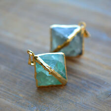 Natural Green Fluorite Pendant Octahedron Geometric 24K Gold Plated Gemstone