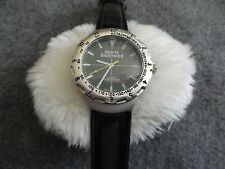 Men's Sports Illustrated Quartz Water Resistant Watch with a Black Leather Band