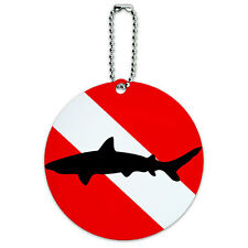Diving Flag Scuba Diver Dive Shark Round Luggage ID Tag Card Suitcase Carry-On