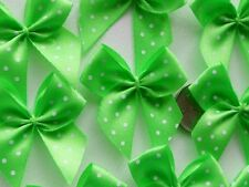 100! Pretty Polka Dot Bows - Lovely Lime Green Bow Embellishments For Cardmaking