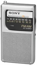 Sony AM FM Hand Held Portable Radio Travel Pocket Small Camp Silver Handheld New