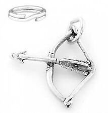 "SILVER ""BOW AND ARROW ARCHERY"" CHARM WITH SPLIT RING"
