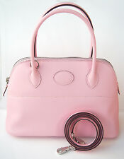 RARE! Hermes NEW Bolide 27 cm Rose Sakura PINK Tote Shoulder Bag PM