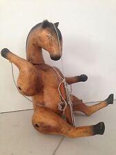 Vintage Antique? Wood Carved Folk Art Marionette Horse Doll Prim For Restoration