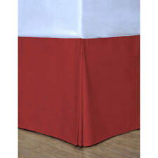 """NEW Satin Silky Bed Skirt King Size Dust Ruffle Bedding 14"""" Drop Red"""