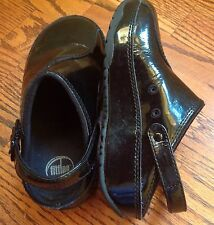 Size 12 FitFlop Girl's Child Happy Gogh Clogs Shoes Black Patent
