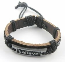 BELIEVE Surfer Bracelet Synthetic Leather Assorted Colors Unisex Adjustable