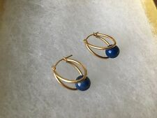 Pretty 14k Yellow Gold and Lapis Earrings NWT