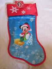 "BRAND NEW DISNEY MICKEY MOUSE 20"" CHRISTMAS STOCKING BLUE~RED~WHITE SNOWFLAKES"