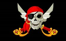 PIRATE FLAG RED BANDANA EYE PATCH JOLLY ROGER SKULL AND CROSS SWORDS 3'x5' feet