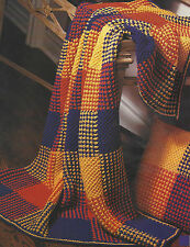 Afghan Blanket and Pillow Knitting Pattern Aran Boldly Coloured Throw  482