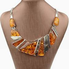 Baltic Yellow Tibet Silver Faux Amber Statement Chain Collar Necklace Pendant