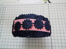 2m Navy Blue Daisy Flower Motif, Applique, Trimmings,Wedding - Satin Lace Ribbon