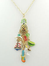 KIRKS FOLLY MARGARITAVILLE PINEAPPLE NECKLACE GOLDTONE SAILBOAT DOLPHIN & MORE