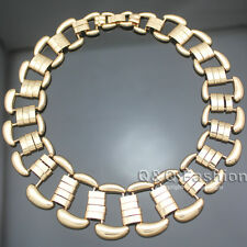 Gold Egypt Cleopatra Bar Buckle Cut Out Chain Collar Choker Statement Necklace