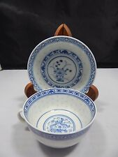 Porcelain Blue/White Asian Translucent Cup and Saucer Set(s); Flowers/Dragon