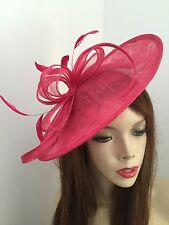 Cerise Fushia Fascinator Saucer Hatinator Ascot Races Disc Feathers Wedding Hat