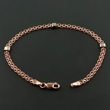 14K ROSE GOLD 3.2MM WIDE BISMARCK 7.5 INCH BRACELET W/3 WHITE GOLD BAR STATION