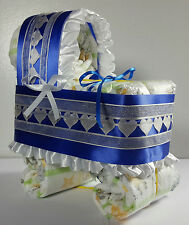 Diaper Cake Bassinet Carriage Baby Shower Gift Boy - Royal Blue and Ivory Hearts