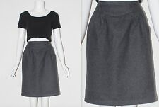 Vintage 1990's WOOL Blend Plain Grey HIGH WAISTED SHORT Skirt Size 10 Waist 27""