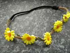 Yellow flower hair bandeaux fabric floral headband string elastic band hairband