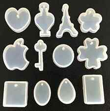 12 PCS Making Resin Casting Decor Hand Craft Tool Silicone DIY Pendant Mold QW