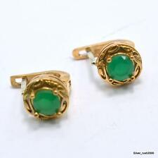 "925 Sterling Silver Hurrem Turkish Handmade Emerald Jewelry Earring 0.8""NJ1"